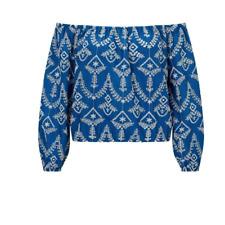 MISS SELFRIDGE Blue Bardot Top Shifley Embroidery Lace 10 Boho Gypsy Stretch NEW