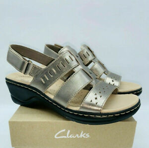 Clarks Collection Women Lexi Qwin Leather Cut-Out Sandal Pewter Metallic