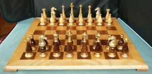 BRASS METAL Chrome w/Wood Inserts Chess Set With Wood Board WEIGHTED FELT