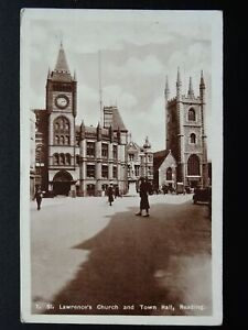 Berkshire READING St Lawrence Church & Town Hall c1930s RP Postcard