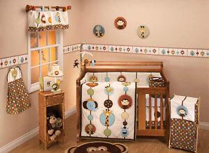 Jungle Tales 6 piece Baby Crib Bedding set no bumper - Elephant Lion Monkey