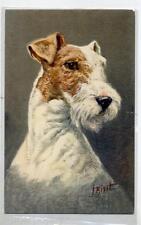 Artist Signed J. HIRST FOX TERRIER dog Vintage PC Circa 1920 Cane