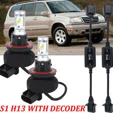 2PCS H13 9008 LED Headlight Hi/Lo Beams  Bulbs Conversion Kit with decoder
