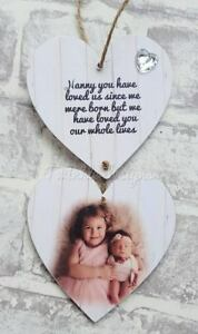 Personalised photo hanging wooden hearts Nanny mothers day sign plaque gift