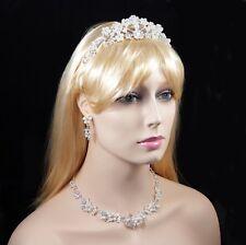 Pearl Floral Austrian Rhinestone Tiara Necklace Earrings Set Bridal Prom N51set
