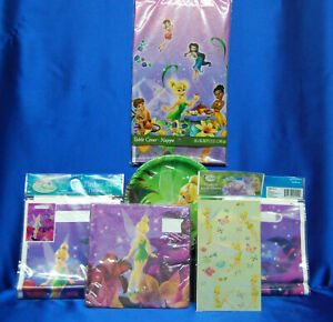 Tinkerbell Fairy Party Set # 7 Tablecloth Tinkerbell Napkins Plates Stickers