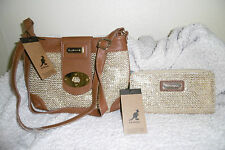 LADIES  KANGOL FASHOIN SET GIFT SMALL SHOULDER BAG CROSS BODY BAG+PURSE GOLD NEW