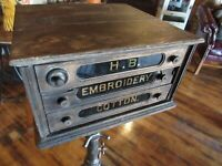 Original Vintage 1900's H.B. EMBROIDERY COTTON Display Wood Cabinet Box Antique