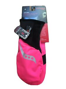 Saucony Ulti-Mitt Size M Pink Convertible Pocket Thermal Running Gloves Light