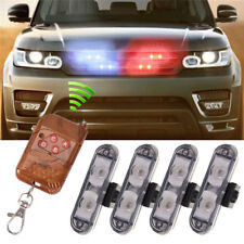 4x2 LED Wireless Remote Control Car Police Strobe Emergency Flash Light Blue Red