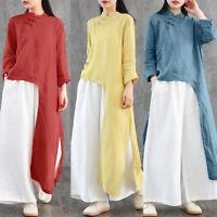 ZANZEA 8-24 Women Asymmetric High Low Low Top Tee Shirt Button Up Tunic Blouse