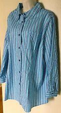 Chelsea Studio Long Slv. Blue Stripe Button Down Stretch Tunic Shirt  Plus Sz 1X