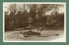 C1930'S RP PC THE ARBORETUM, LINCOLN - FOUNTAIN, BOYS WITH DOG