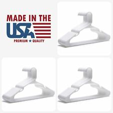 """24 Plastic Hangers Notched Standard Tubular Hanger Lot 16.5"""" WHITE Made in USA"""