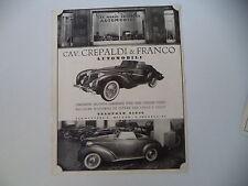 advertising Pubblicità 1940 AUTOMOBILI CREPALDI - CONCESSIONARIA GARAVINI TORINO