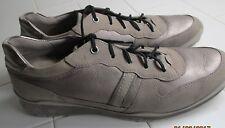 Ecco Metallic Leather & Tan Suede  Lace Up Rubber Soles..SZ10   EURO 41Ex. CO.