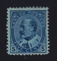 Canada Sc #91 (1903) 5c blue on bluish paper King Edward VII Mint H