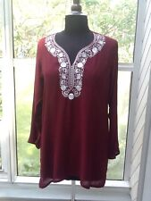 Ladies' Maroon W/White Trim Top / Tunic - S / M