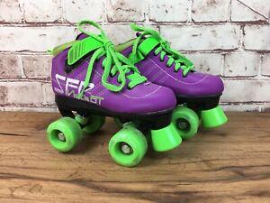SFR Vision GT Quad Roller Skates Boots Size UK 1J Girls Purple Green Rollerskate