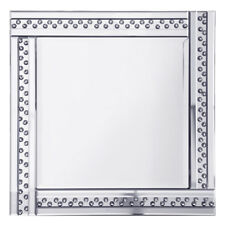Square Mirror Modern Home Decor With Crystal Effect Studs Silver Frame Litecraft