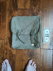 Vintage Military Style small Green Canvas Backpack o. d. messenger bag