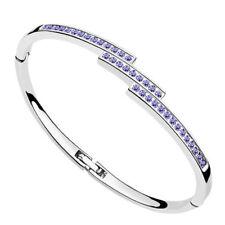 18K White Gold Plated made with Swarovski Crystal Elements Bangle Bracelet.