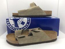 BIRKENSTOCK Women Arizona Taupe Suede Slides Sandal Shoes Sz 9 EU40 ZB6-63