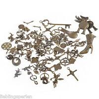 10Stk. Mix Bronze Metall Anhänger für Halskette Charms uralt Pendant