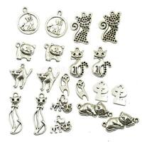 20 Assorted Cats Charms Pendants Bead Necklace Bracelet DIY Jewelry Findings