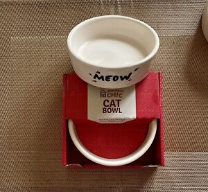 "2 X CERAMIC CAT KITTEN BOWL WATER FOOD FEEDING DISH 4.5"" MEOW PRINT DW/MW Safe"