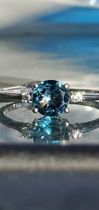 Blue Zircon Round Cut And Diamond Ring 10kt Solid White Gold