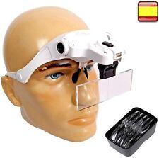 Visera con Lupa binocular y foco regulable mas lente de aumento luz