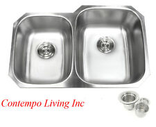 "32"" Stainless Steel Double 40/60 Bowl 18 Gauge Undermount Kitchen Sink Strainer"