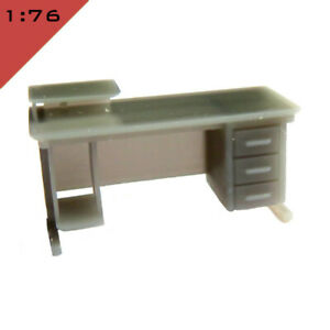 1x 3D printed OFFICE DESK WITH DRAWERS 1:76, OO Model Miniature Interior Scene