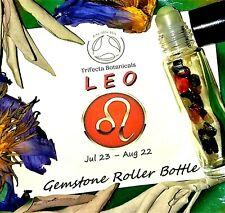 LEO Zodiac Roller Bottle Crystal Set for Essential Oil Astrology Wicca Gift
