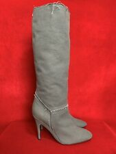 Stella McCartney Round Pointed Grey Fabric Canvas Knee High Boots Size EUR 40