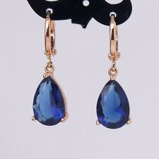 Unique style sapphire lovely 18k gold filled wedding promise dangle earrings