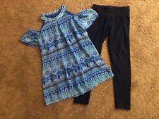 Blue Paisley Open Shoulder Tunic Top Dark Blue Leggings Justice Amys Closet 7/8