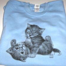 """Two Playful Kittens"" - Gildan (Blue) Fleece Long sleeve Crew Neck Sweatshirt"