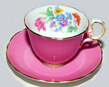 Aynsley C332 Dusty Rose with Flowers inside Bone China Tea Cup and Saucer ca1930