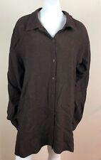Eileen Fisher Woman 1X Button Down Shirt Collered Long Sleeve Top Italian Yarn