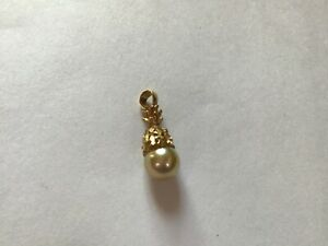 14K YELLOW GOLD &  PEARL PINEAPPLE PENDANT  sweet