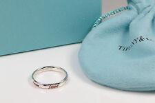 Tiffany & Co Picasso Graffiti Love Band Ring Silver & Red Enamel Size 5.5  w BOX