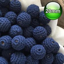 10 x Crochet wood beads 20mm Navy Blue wooden teething baby safe jewellery