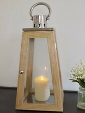 Stainless Steel & Wood Garden Candle Hurricane Lantern Lamp Holder Large 56cm