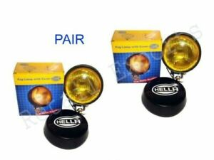 Pair of Hella Round Fog Lamp Yellow Glass + Cover Without Bulb