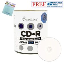 100 Smartbuy 52X CD-R 700MB White Inkjet Printable Disc + FREE Micro Fiber Cloth