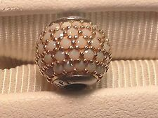 """Pandora Essence """"Hope"""" 14K Gold and Opaque White Crystals Sale $96 – Retail $190"""