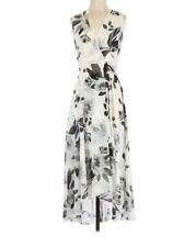 Calvin Klein SZ 4 Women's Sleeveless Semi Sheer Floral Hi Low Faux Wrap Dress