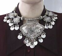 Tribal Necklace Statement Choker Bib Coin Boho Gypsy Vintage Bold Chunky Jewelry